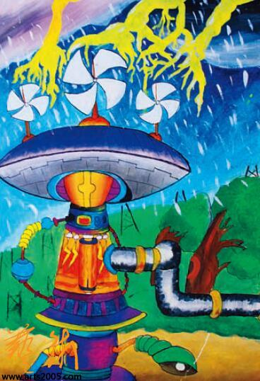 —全国少年儿童幻想绘画大赛获奖作品选-科技创意 展示活动包括少图片